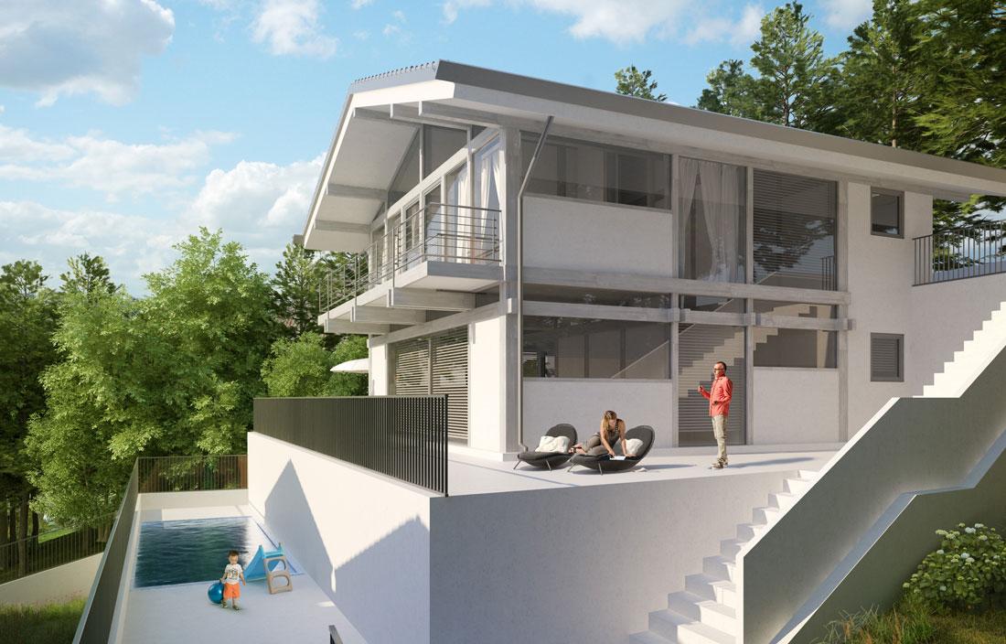 Render4Arch - Rendering FLOCK Haus con piscina